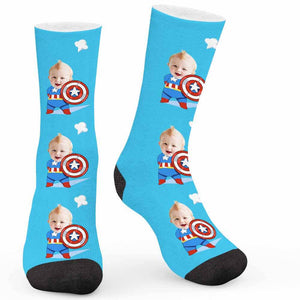 Cartoon Shield Custom Socks - Make Face Socks