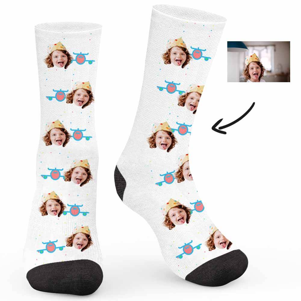 Airplane Pattern Custom Socks - Make Face Socks