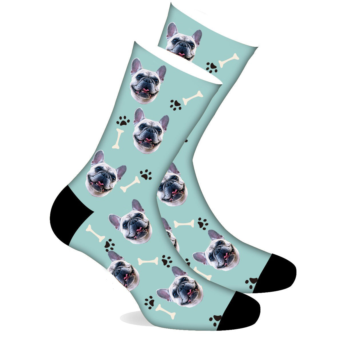 Custom Sock Dog Footprint Black - Make Face Socks
