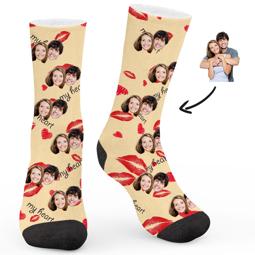 Custom My Heart Socks - Make Face Socks