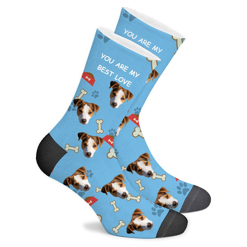 Custom Sock Dog Footprint Text - Make Face Socks