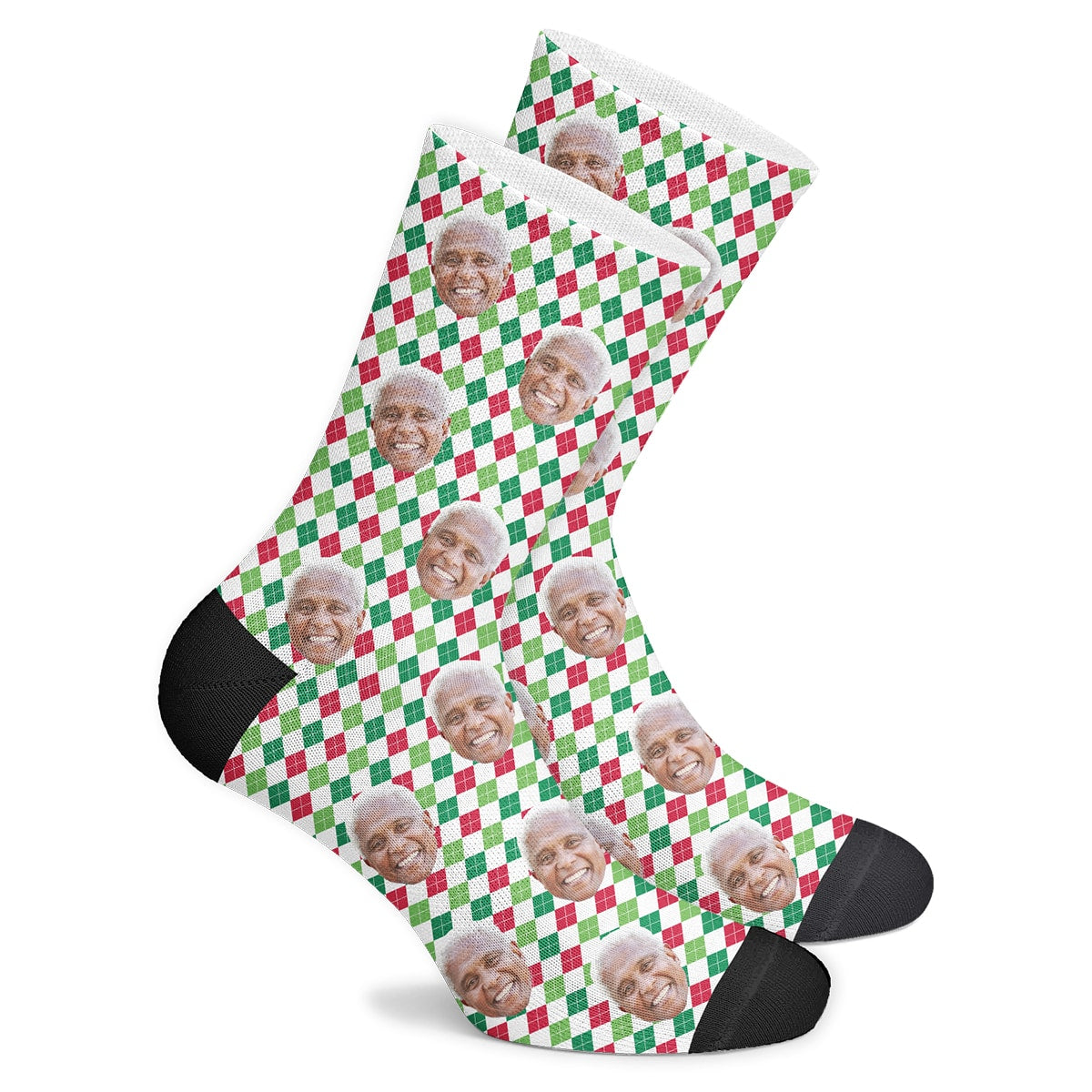 Custom Holiday Argyle Socks - Make Face Socks