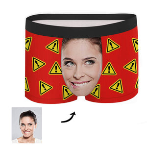 Custom Face Boxer - Warning Signs - Make Face Socks