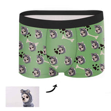 Load image into Gallery viewer, Custom Face Boxer - Dog Footprint Black - Make Face Socks