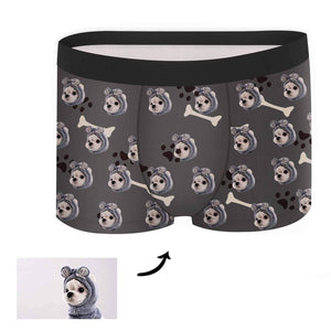 Custom Face Boxer - Dog Footprint Black - Make Face Socks