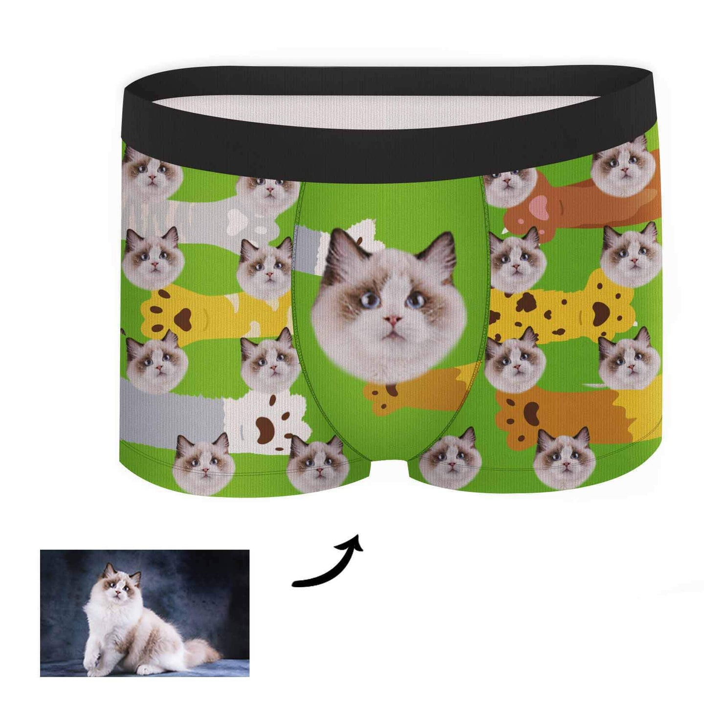 Custom Face Boxer - Cat Paw - Make Face Socks