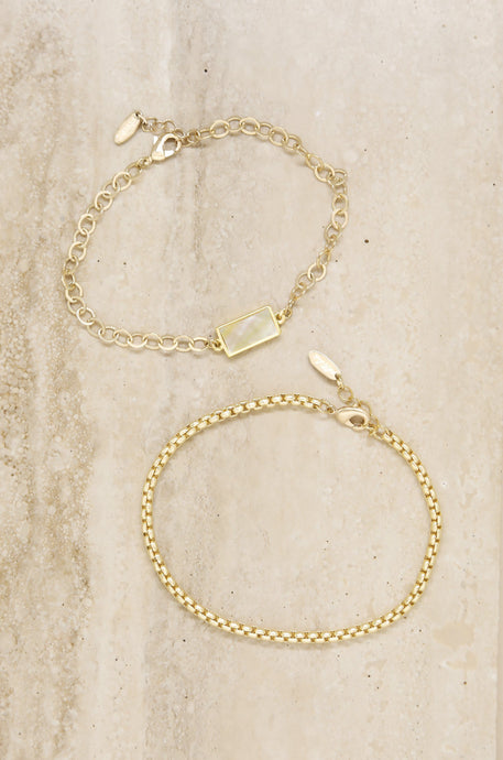 Linked Gold and Mother of Pearl Anklet Set - Joy Street