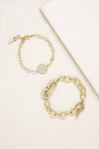 Crystal Disc & Link Chain Bracelet Set of 2 - Joy Street