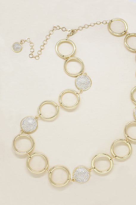 Gold Circle Chain and Crystal Belt - Joy Street