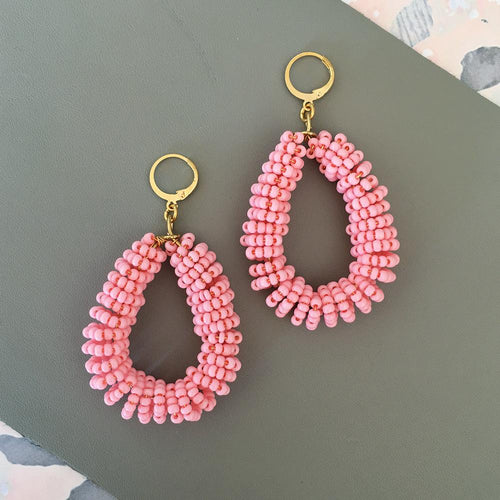 Pastel Pink Hoop Handmade Statement Earrings - Joy Street