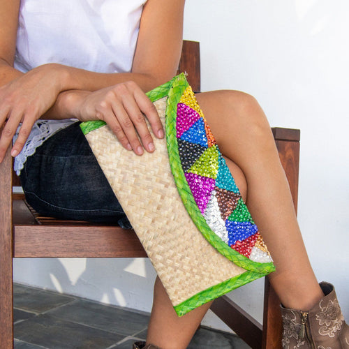 Straw Clutch Bag Embroidered With Colorful Sequin by Mexico Artisans - Joy Street