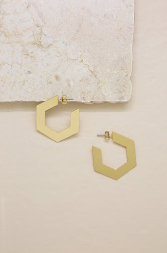 Pentagon Hoop Gold Earrings - Joy Street