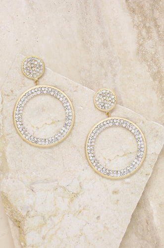 Crystal Pave Drop Hoop Earrings in Gold - Joy Street