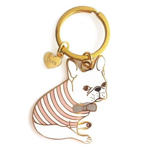 French Bulldog in Pink Tee Enamel Keychain with Love Heart Charm - Joy Street