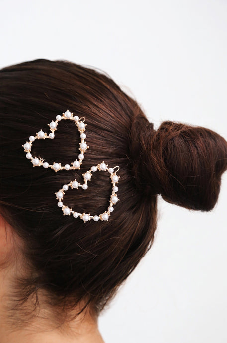 Pearl Heart Hair Clip Set of 2 - Joy Street