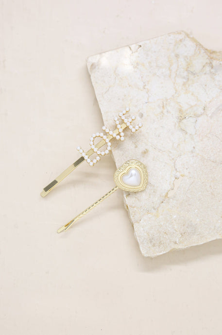 Pearl Love Heart Hair Pin Set of 2 - Joy Street