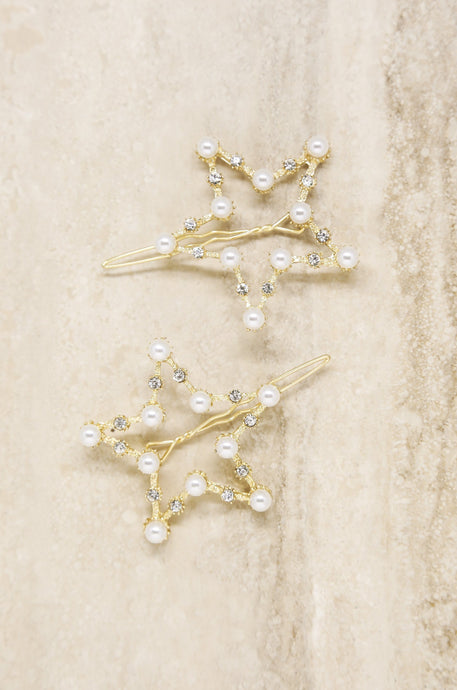 Shiny Star Pearl Hair Pins - Joy Street