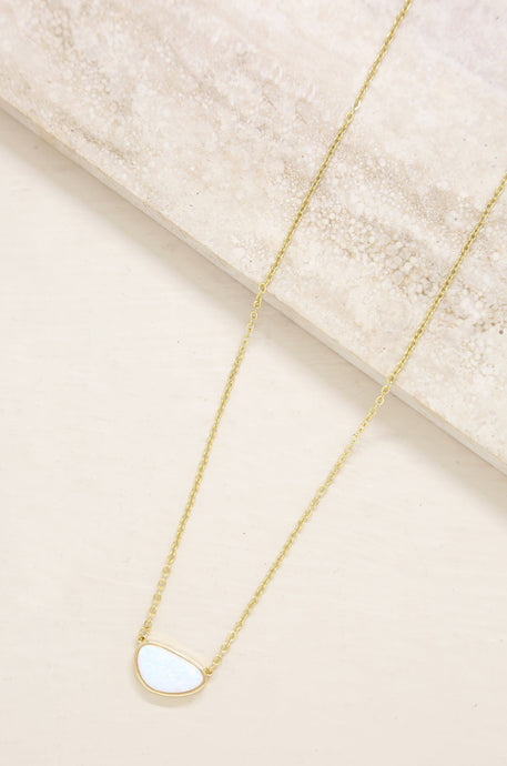 Dainty Opal Pendant Adjustable 18ct (carat) gold plated Necklace - Joy Street