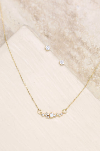 Delicate Opal & Crystal 18ct gold plated Necklace Stud Earrings Set - Joy Street