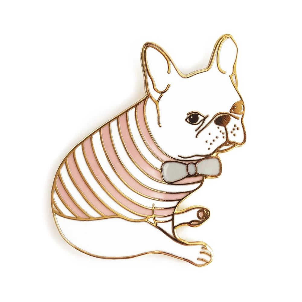 Pink Striped Tee and Bow French Bulldog Enamel Pin - Joy Street