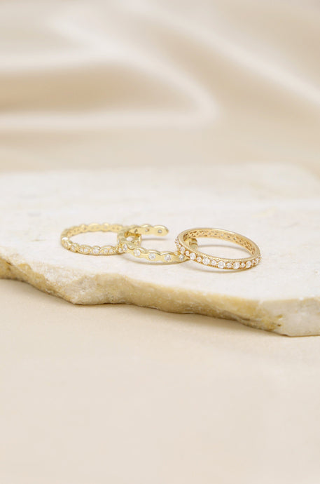 Triple Love Crystal 18k Gold Plated Ring Set - Joy Street