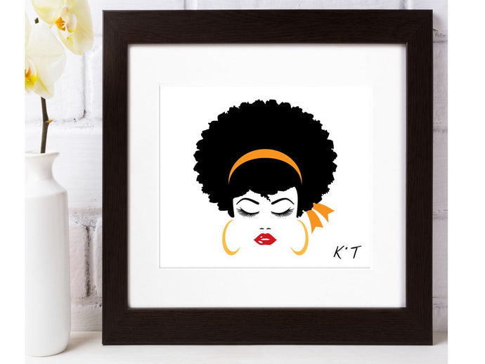 Personalised Initials Girl Print with Frame - Joy Street