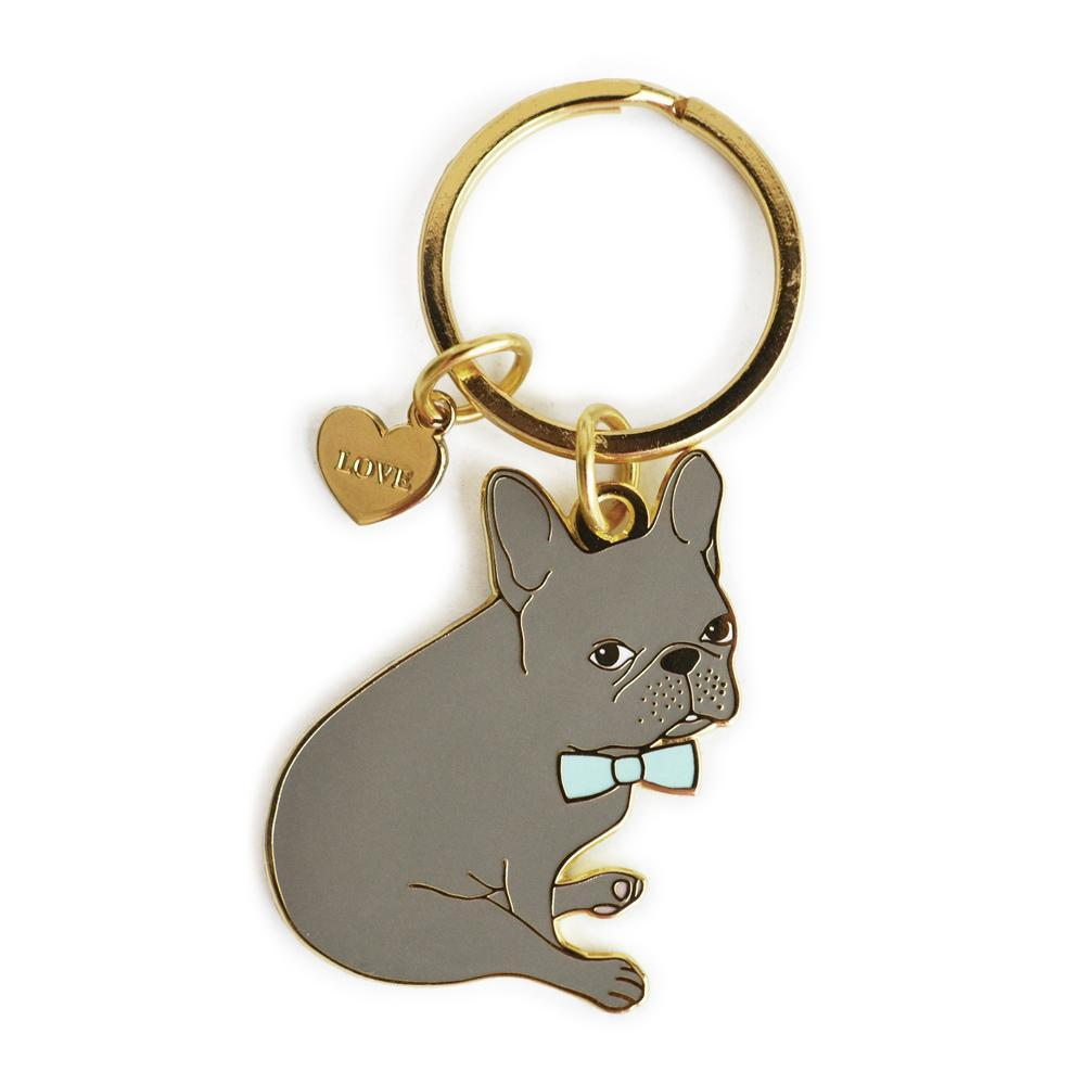 Blue French Bulldog Enamel Keychain with Heart Charm - Joy Street