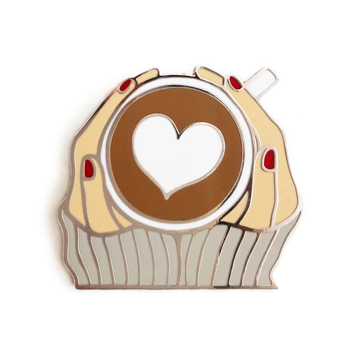 Coffee Enamel Fashion Girl Pin - Joy Street