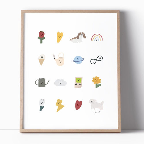 Cute Happy Things Illustration Print Poster - Joy Street
