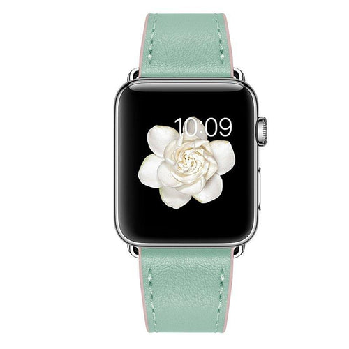 Leather Apple Watch Band - Green and Pink - Joy Street