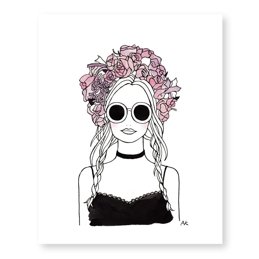 Flower Crown Girl Chic Art Print - Joy Street