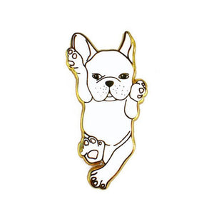 White French Bulldog Enamel Pin