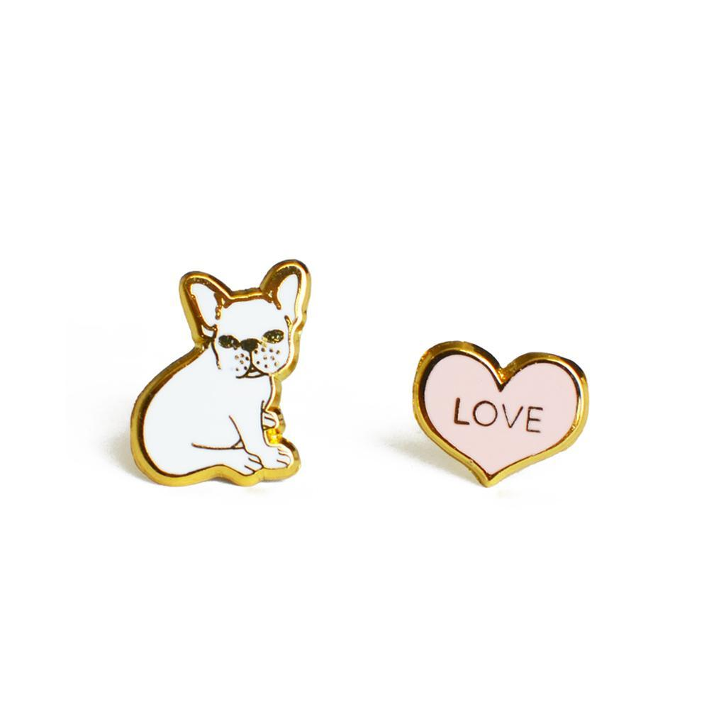 Bulldog & Heart Earrings - Joy Street