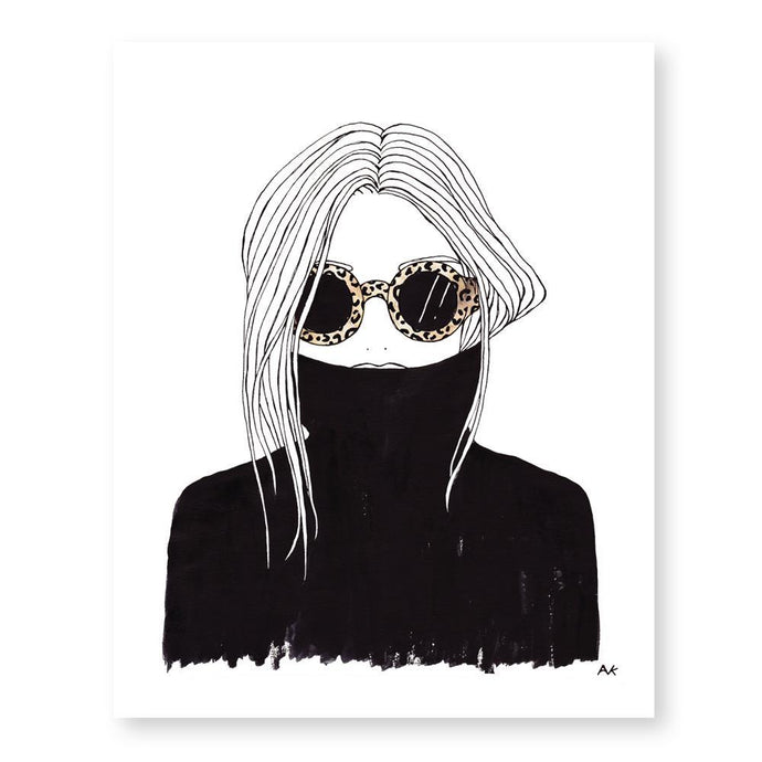 Leopard Shade Black Turtleneck Woman Art Print - Joy Street