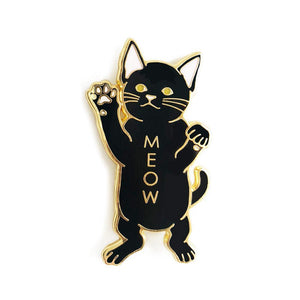 Black Cat Meow Enamel Pin - Joy Street