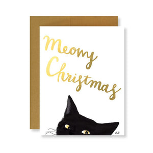 Cat Christmas Card with Gold Foil - Joy Street