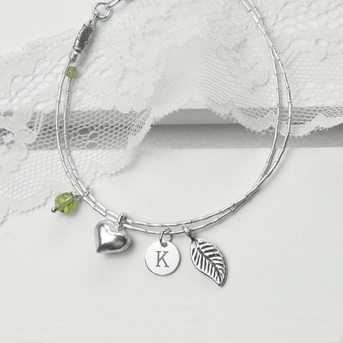 Personalised Silver Bracelet with Peridot - Joy Street