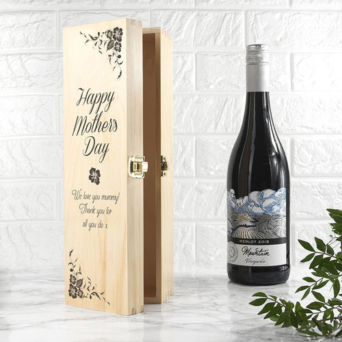 Mother's Day Wine/Champagne Box With Floral Design - Joy Street