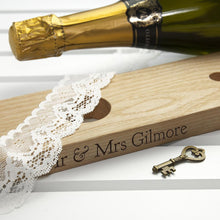 Load image into Gallery viewer, Personalised Wooden Champagne Holder for 2 Glasses - Joy Street