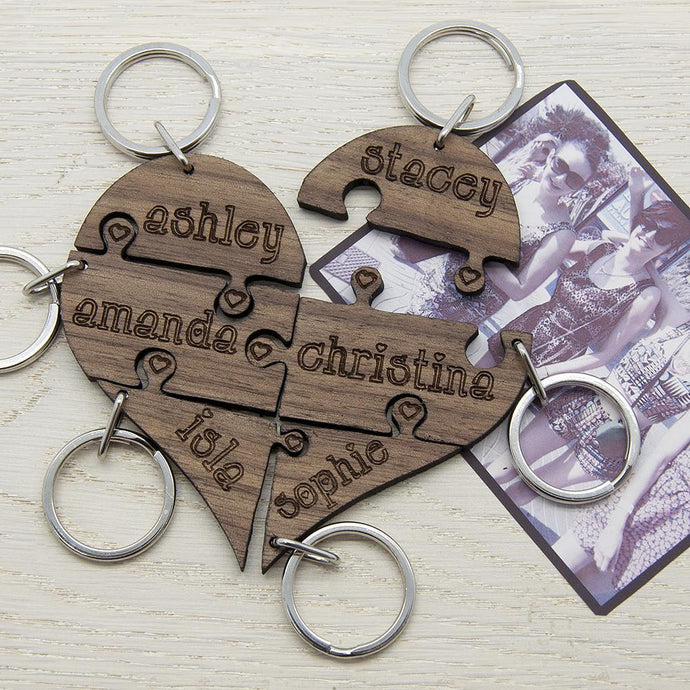 Personalised Bridesmaid Name Heart Jigsaw Wooden Keyring - Joy Street