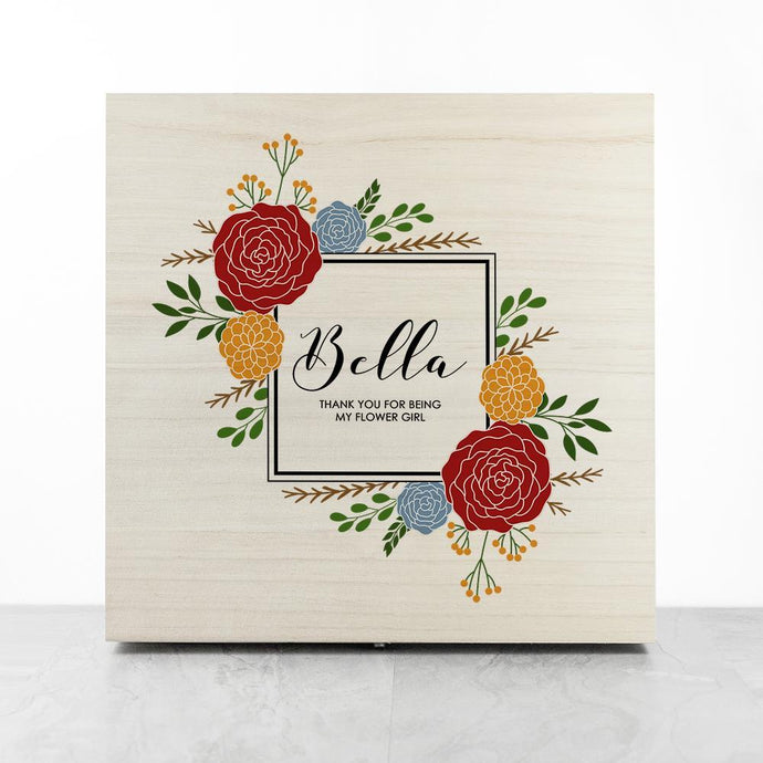 Personalised Vibrant Flower Frame Bridesmaid Box - Joy Street