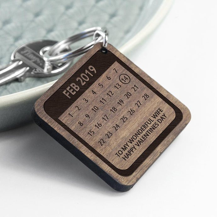 Personalised A Day To Remember Square Wood Keyring - Joy Street