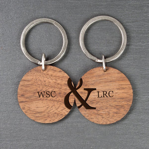 Personalised Couples Set of Two Wooden Keyrings - Joy Street