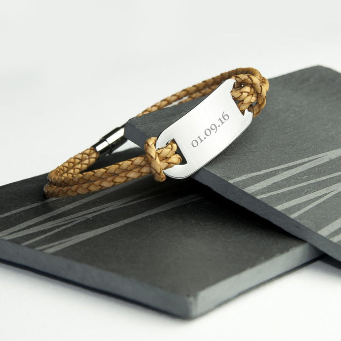 Personalised Men's Leather Woven Bracelet in Light Brown - Joy Street