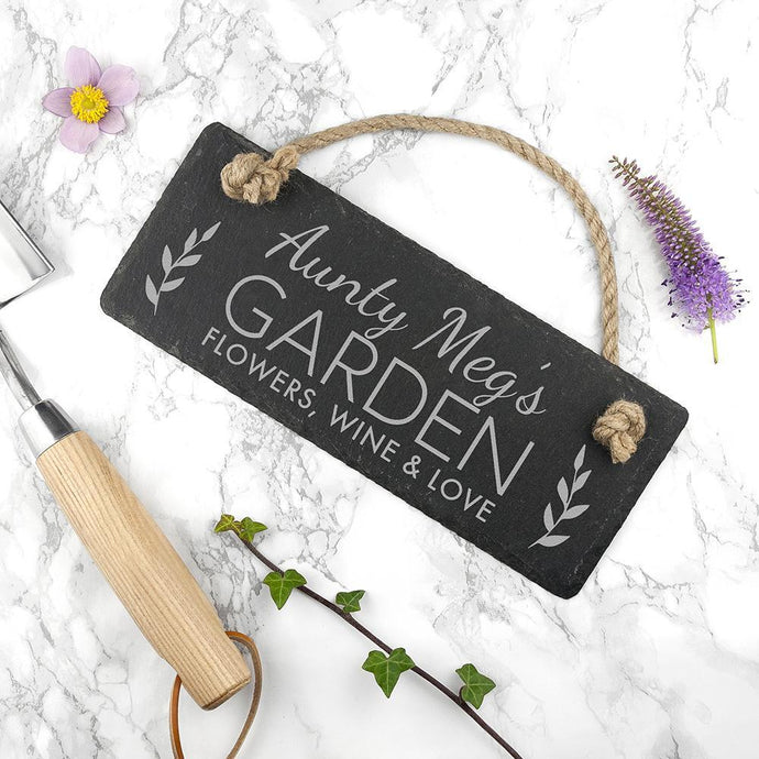 Personalised Garden Slate Hanging Sign - Joy Street