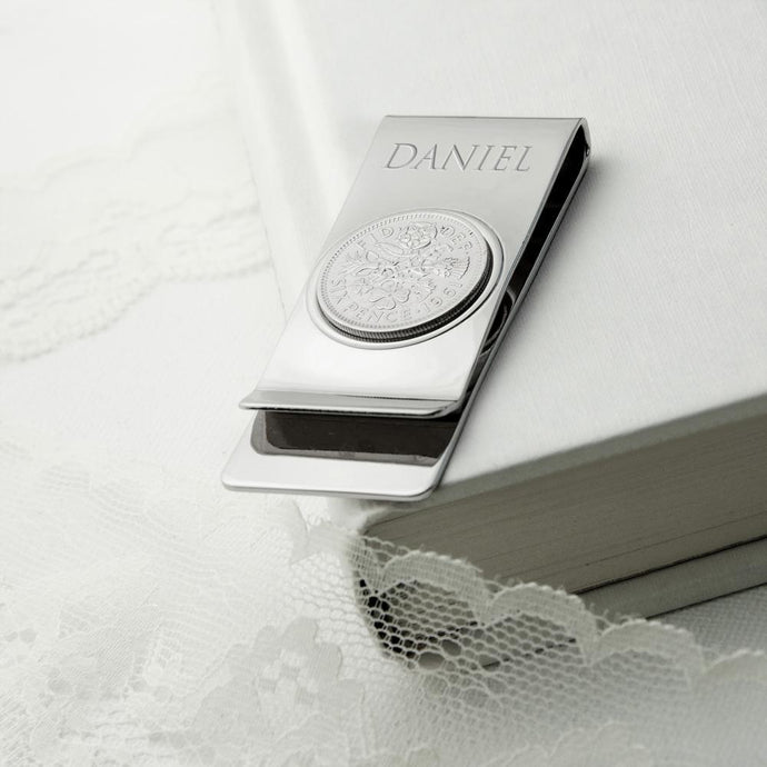 Personalised Silver Plated Lucky Sixpence Money Clip - Joy Street