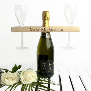 Personalised Wooden Champagne Holder for 2 Glasses - Joy Street
