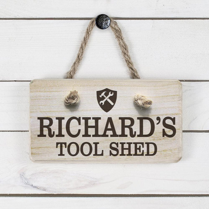 Personalised Wooden Tool Shed Sign - Joy Street