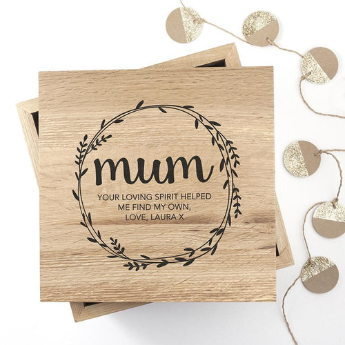 Personalised Wreath Mother's Day Large Oak Photo - Joy Street