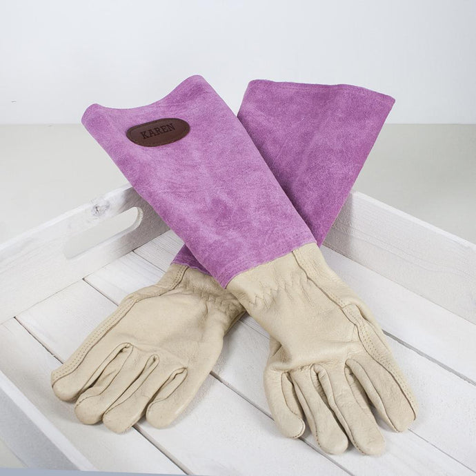 Personalised Pink Leather Gardening Gloves - Joy Street